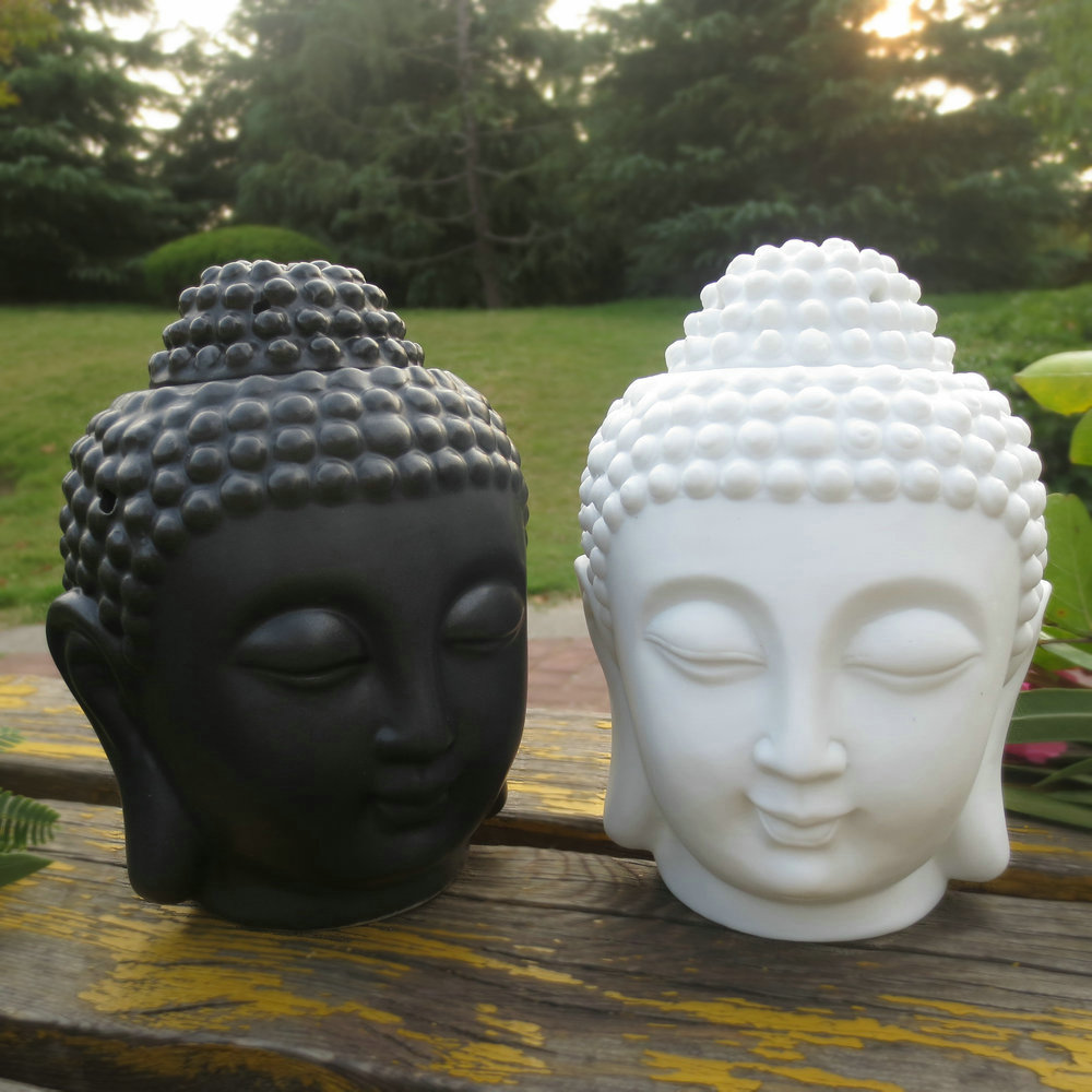 Home decoration Aroma oil burner ceramic Buddha head candle holders essential oil burner incense base Lavender Assuaging scent