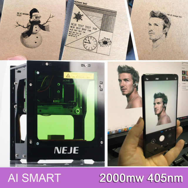 NEJE 2019 hot selling new 2000mw 405nm Ai laser engraver Wood Router Laser Cutter Printer Engraver Cutting Machine