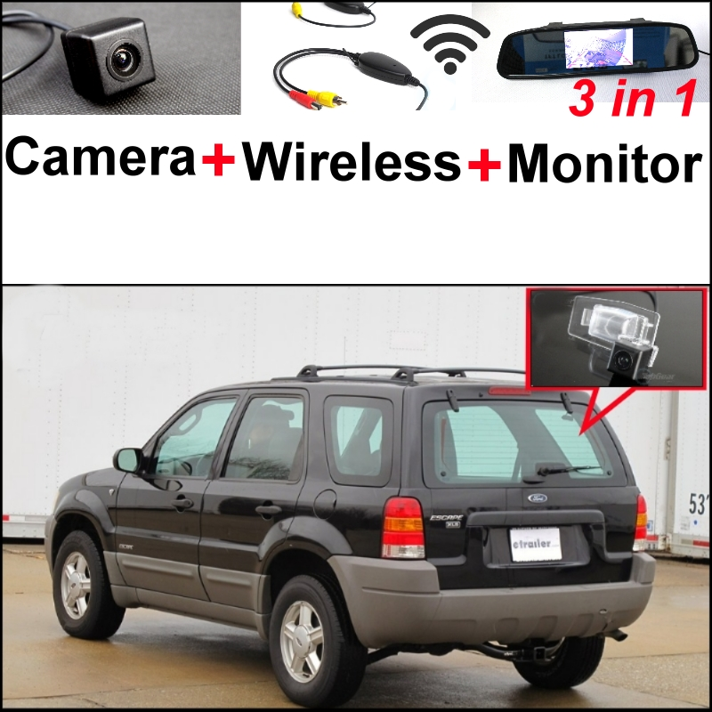 3 in1 Special Camera + Wireless Receiver + Mirror Monitor Easy DIY Back Up Parking System For Ford Escape Maverick Mariner wireless pager system 433 92mhz wireless restaurant table buzzer with monitor and watch receiver 3 display 42 call button