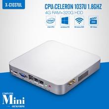 Fanless Design  Celeron C1037U 4G RAM+320G HDD+WIFI Mini Desktop Mini PC Computador Tablet Computer Support Win 7 XP Ubuntu