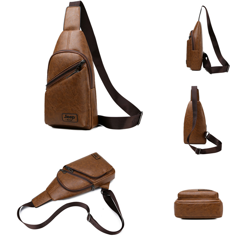 JEEP BULUO Brand Men Sling Bags 2Pcs/Set Leather Chest Bag For College Students Fashion Casual Men's Bags Crossbody Shoulder Bag