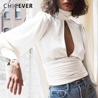 CHICEVER 2018 Autumn Women's Shirt Blouses Top Female Puff Sleeve Backless White Shirts Blouse Tops Fashion Clothing Tide New