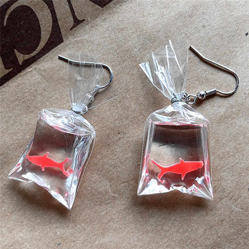 Bolsa de agua de pez Koi bonita de lujo pendientes colgantes Anti alergia gracioso elegante gota de oreja para mujer chica