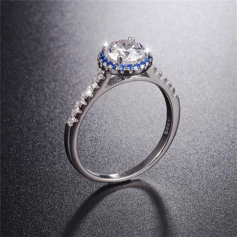 Brand Ladys Classic solid 925 Sterling Silver ring 1ct SONA Diamond Rings Wedding Jewelry for Women gift size ,5,6,7,8,9,10