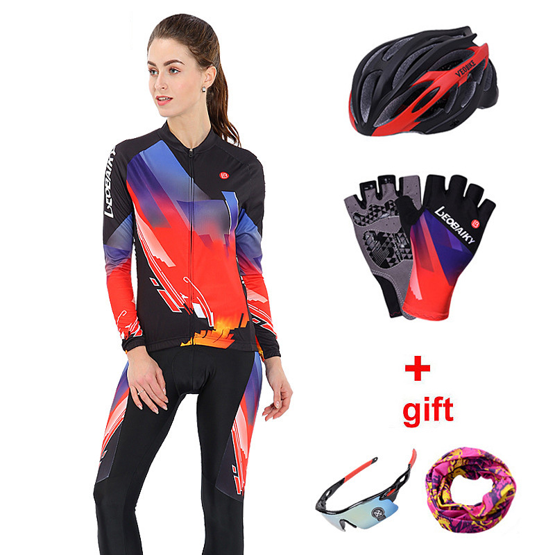 edee46e60 Ladies Cycling Clothing Set Reflective Long Sleeve Womens Cycling Jersey  Mtb Bike Riding Suit Bicycle Clothes Women Sport Wear