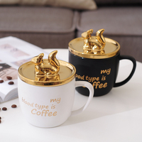 Cute Golden Squirrel Ceramic Coffee Mug With Spoon white Cup For Water Valentine's Day Gift Gold plated Cover Free Shipping