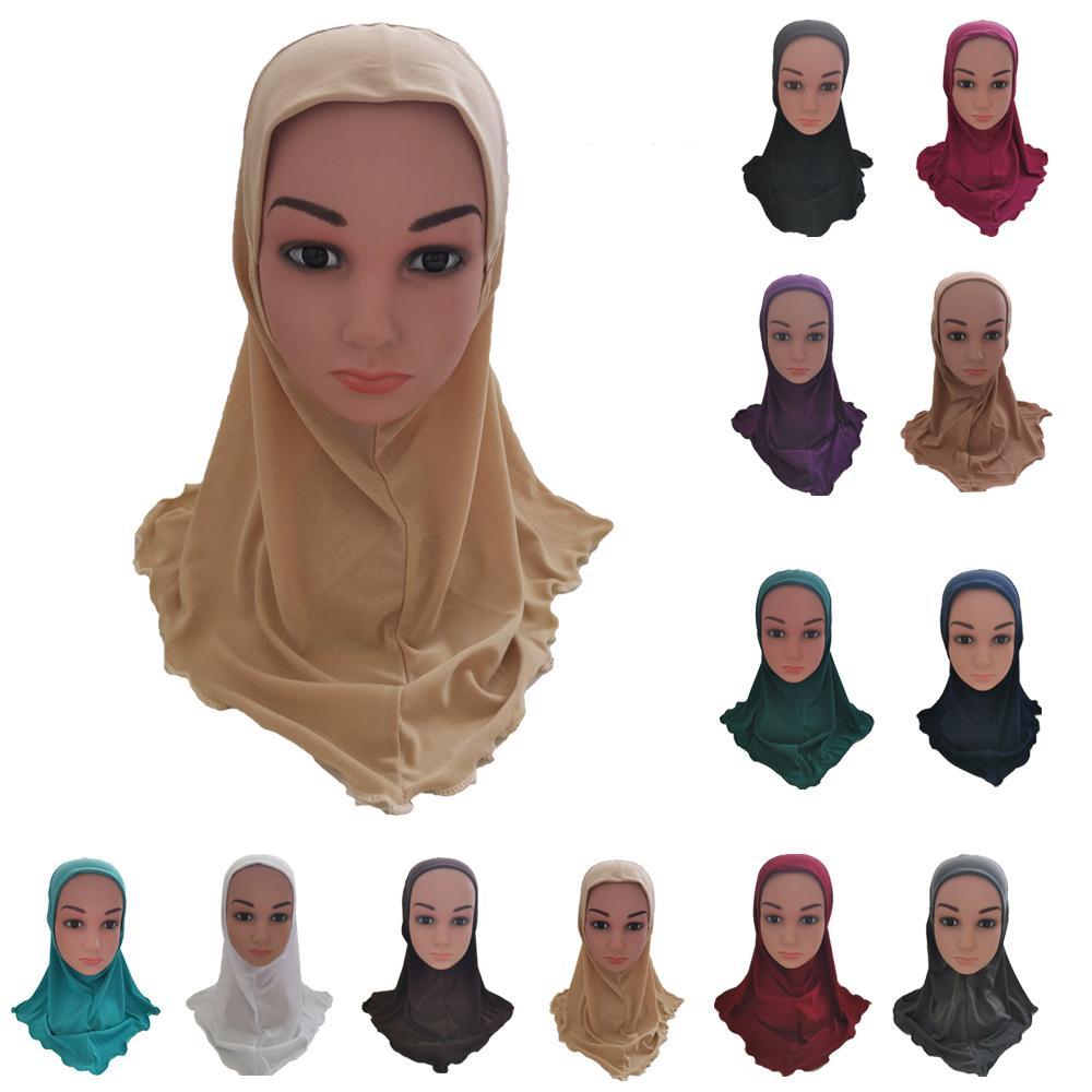 Kids Girls Hijab Amira Muslim Headwear Hat Islamic Shawl Wrap Head Covers Turban Ramadan Headscarf Bandanas Solid Color Fashion