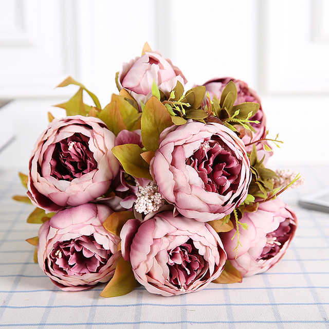 Artificial Silk Peony Bouquets 6 Big Flowers For Wedding Party