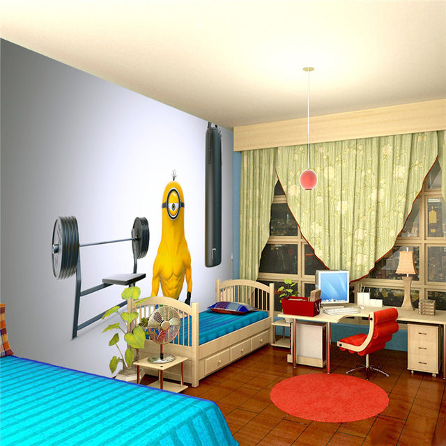 Online Shop Funny Muscle Minion Photo Wallpaper Custom Wall Mural ...