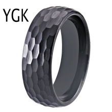 Hammer 8mm Black Domed Tungsten Ring Women Classic Hammered Comfort Fit Faceted Comfort Fit for Men Wedding Band Engagement Ring