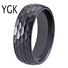 Martelo 8mm preto abobadado anel de tungstênio feminino clássico martelado conforto ajuste facetado conforto apto para homens anel de noivado banda de casamento