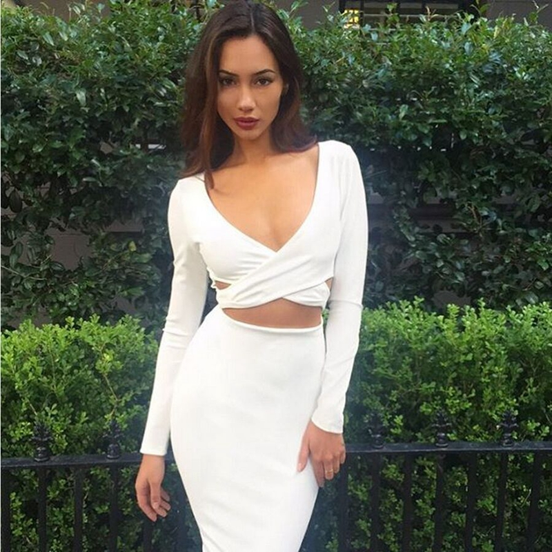 e6b05bc5ec489 4 Colors Sexy Club Dress 2015 Long Sleeve Cut Out White Dress Women Bodycon  Bandage Dress Party Deep V neck Black Winter Dresses-in Dresses from Women's  ...