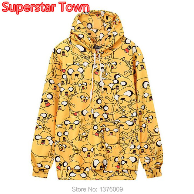 a55358325d New Autumn Style Lolita Harajuku Hoodie Adventure Time Jake Dog Lovely  Print Hooded Sweatshirt Women Girls Casual Tops Female