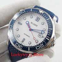 BLIGER Quente Rodada Branco 41mm 41mm Relógio Mecânico Relógio dos homens Movimento Automático Pulseira de Borracha|Relógios mecânicos| |  -