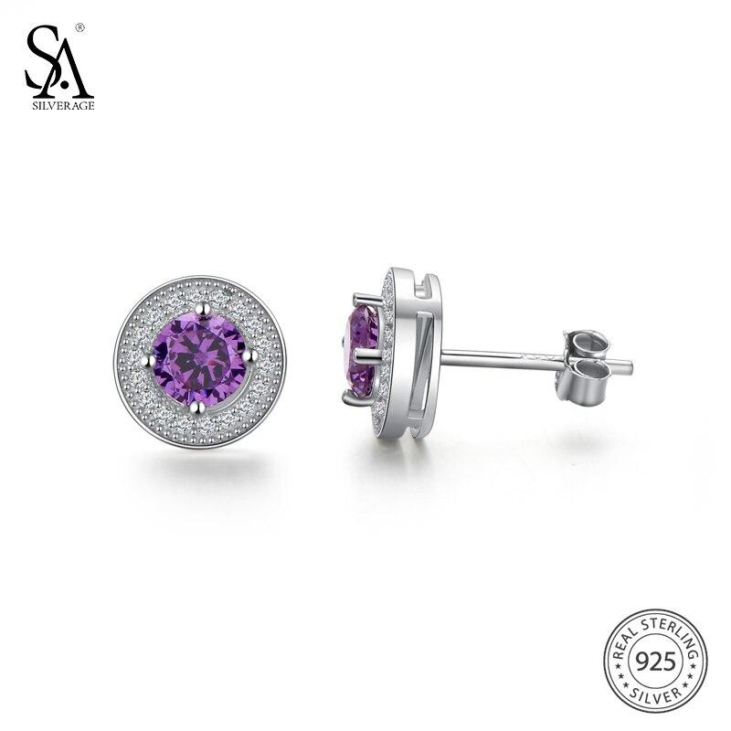 SA SILVERAGE 925 Sterling Silver Gemstone Stud Earrings for Women 925 Silver Earrings sets Fine Jewelry Purple/Blue/Green