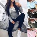 Moda de Las Nuevas Mujeres Tops Camisa de Encaje Escote Flojo Ocasional Camisa de Manga Larga Camiseta de Las Señoras Tops