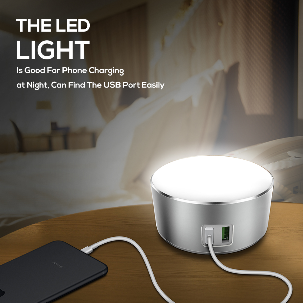 TOPK 2 Port USB Charger 5V 2.4A(Max)12W Auto-ID Dimmable Smart LED Table Lamp EU Mobile Phone Charger for iPhone Samsung Xiaomi