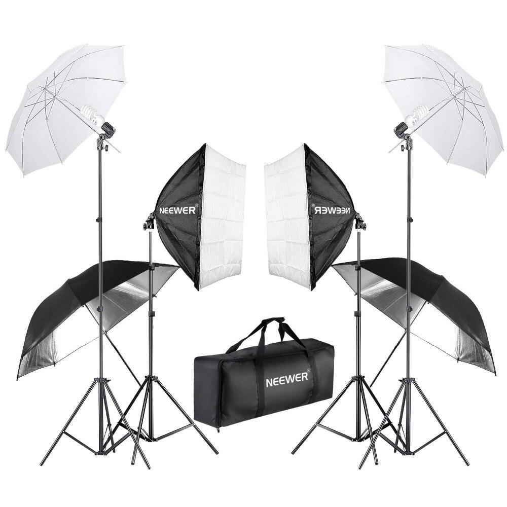 Neewer 800 W photographie Softbox et parapluie Kit d'éclairage 24 pouces Softbox blanc parapluie 45 W ampoule 88 pouces support de lumière