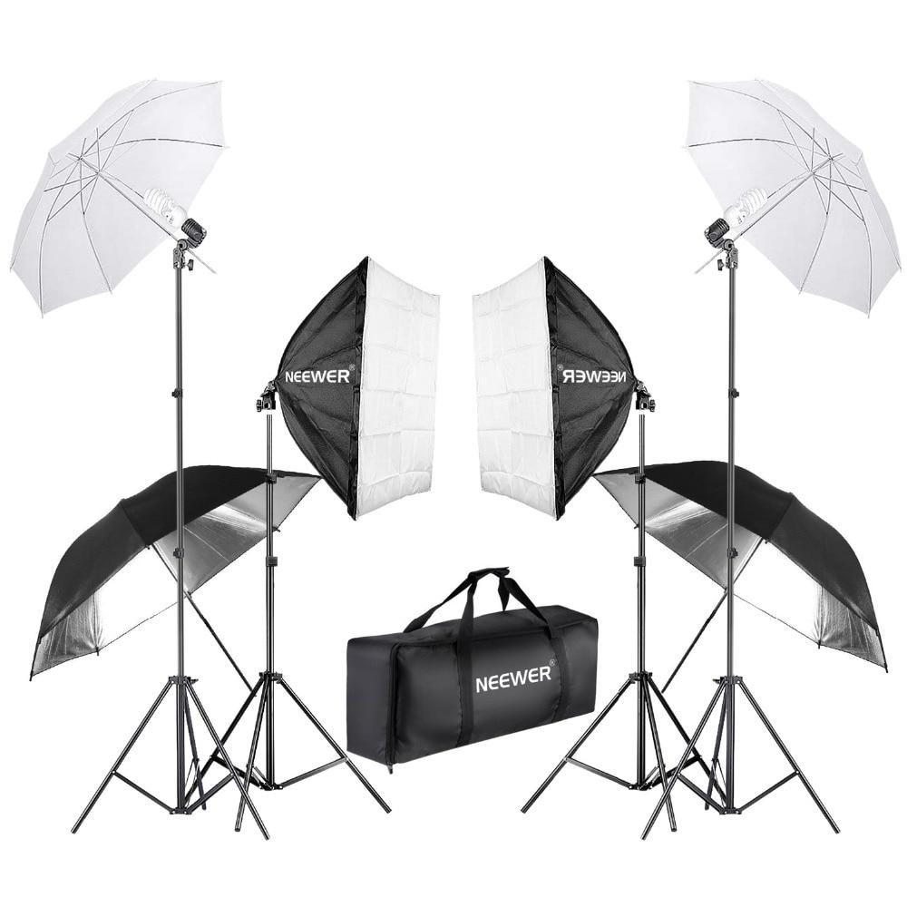 Neewer 800 w Photographie Softbox et Parapluie Éclairage Kit 24 pouces Softbox Blanc Parapluie 45 w Ampoule 88 pouces Lumière stand
