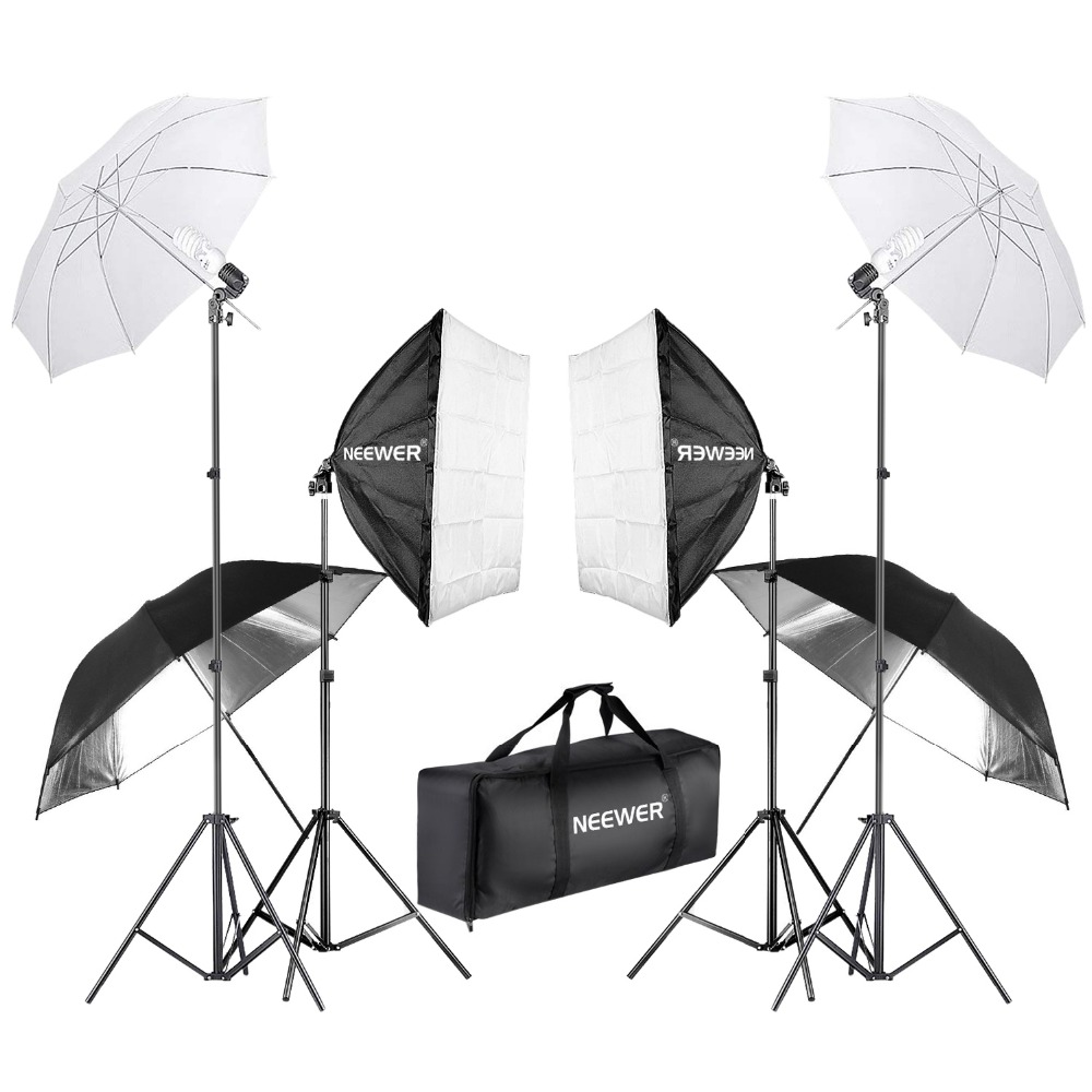 Neewer 800W Photography Softbox and Umbrella Lighting Kit 24 inches Softbox White Umbrella 45W Bulb 88 inches Light Stand Neewer 800W Photography Softbox and Umbrella Lighting Kit 24 inches Softbox White Umbrella 45W Bulb 88 inches Light Stand
