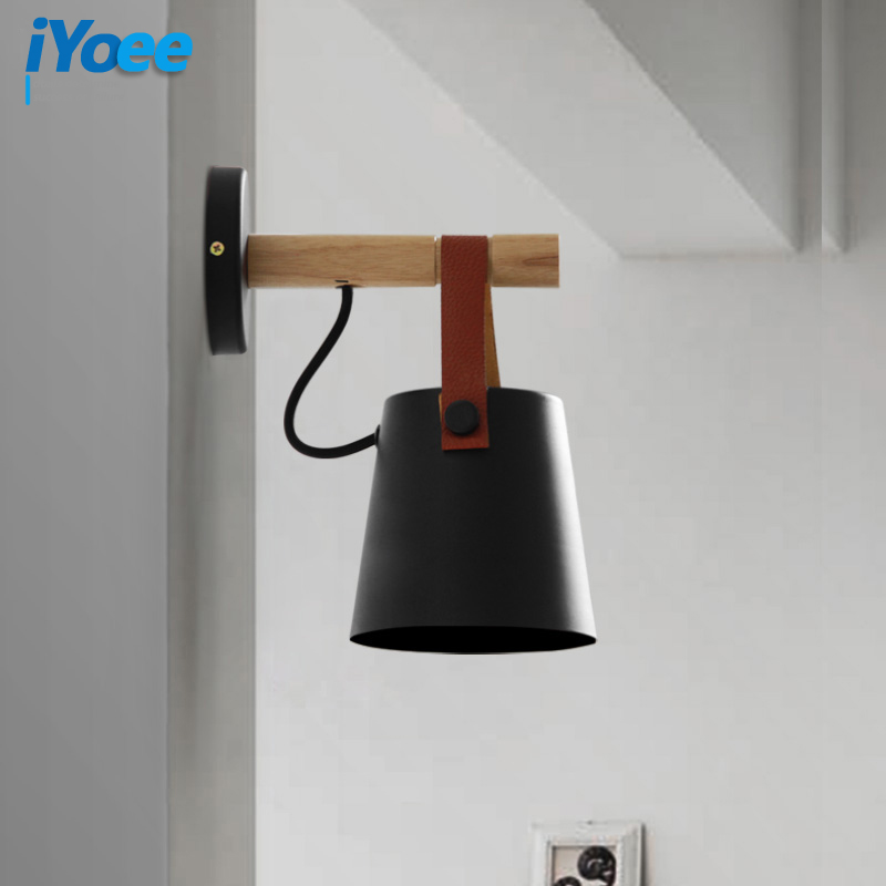 Image 3 - Nordic bedroom LED bedside Wall Lamps Indoor E27/E26 aisle lighting hotel Creative Wooden White/Black vanity Wall Sconces Light-in Wall Lamps from Lights & Lighting
