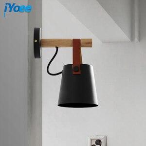 Image 3 - Nordic bedroom LED bedside Wall Lamps Indoor E27/E26 aisle lighting hotel Creative Wooden White/Black vanity Wall Sconces Light
