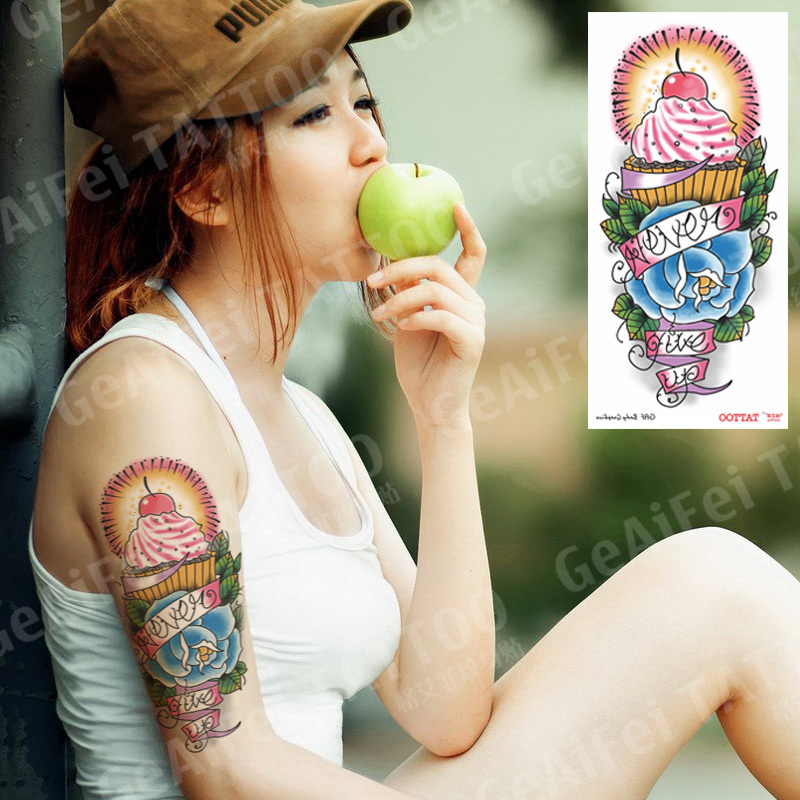 Women temporary tattoos sex products rose ice cream cake sticker waterproof never give up arm large body art makeup