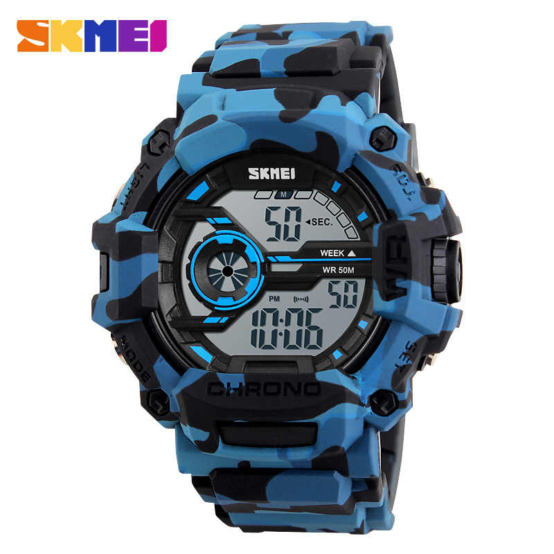 SKMEI Outdoor Sports Watches Men LED Fashion Digital Wristwatches 50M Waterproof Back Light Alarm Week Display Watch 1233