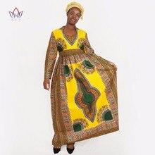 Традиционные африканские одежда зима платье Женщины Глубокий v-образным вырезом с длинным рукавом Макси платье Дашики Базен Riche женские длинные платья WY029