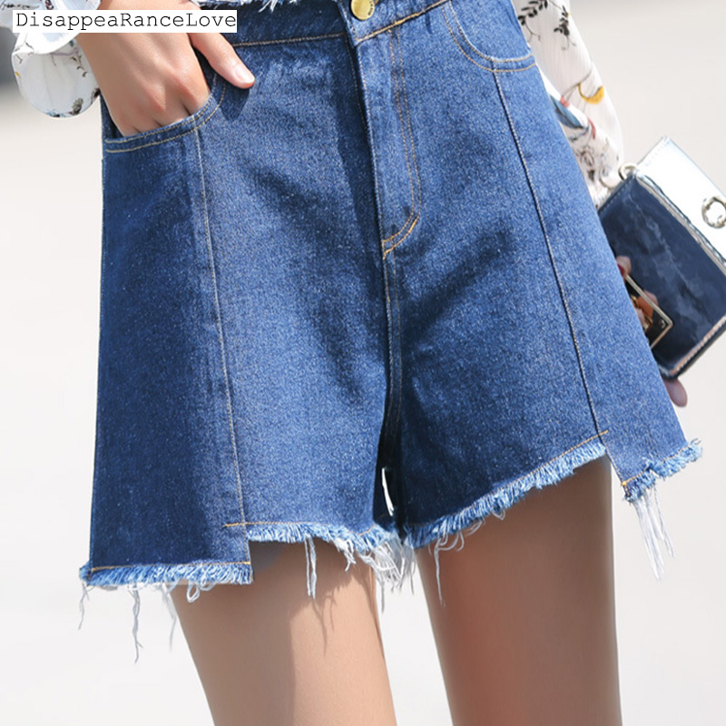 2017 high waist denim shorts plus size hole super all-match loose shorts female causal pants Show thin wide-legged cool jeans