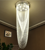 Modern LED chandelier crystal double staircase hanging line lights staircase crystal large long hanging lights SJ13