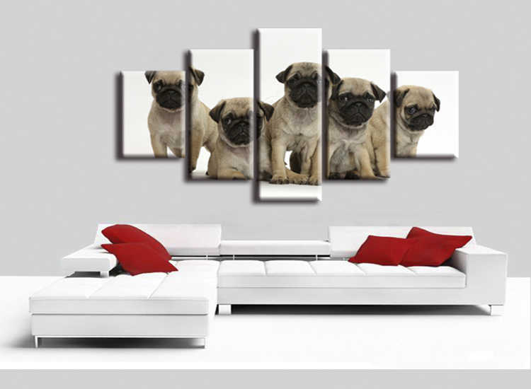 5 pieces / set abstract Fashion Five Animal Dog Canvas Big Print Poster Wall Picture Home Decor Painting