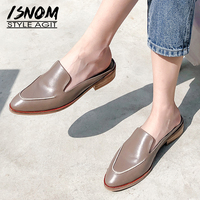 ISNOM Wood Low Heels Slippers Woman 2019 New Women Slides Shoes Female Round Toe Cow Leather Mules Shoes Fashion Casual Shoes