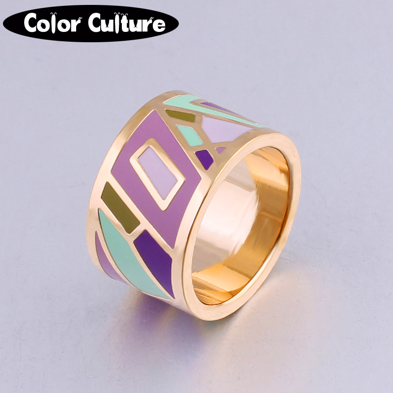 New arrival high-end retro elegant classic stainless steel big rings for women 1.3cm  Designers Color geometric Enamel Ring