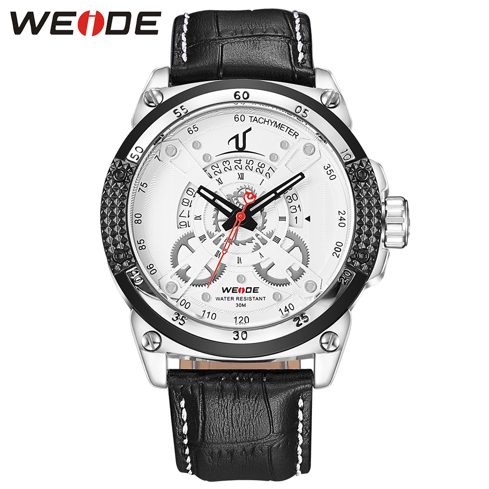 WEIDE Fashion Sport Quartz Watch Men Clock Analog Calendar Date Display White Dial Leather Strap Buckle Watch Relogio Masculino weide casual genuin new watch men quartz digital date alarm waterproof fashion clock relogio masculino relojes double display