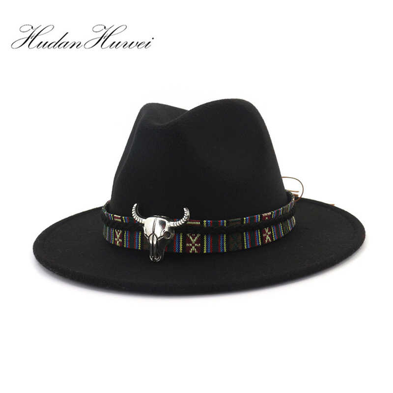 c59aea891696d Cowboy Style Leopard Leather Decorated Mens Womens Fedora Hats Wool Felt Hat  Trilby Flat Brim Jazz