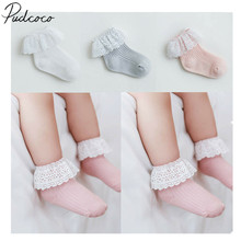 Коллекция года, Детские аксессуары, красивые хлопковые носки принцессы в стиле ретро с кружевными рюшами и оборками однотонные носки в рубчик, От 6 месяцев до 5 лет