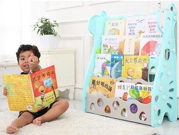 Children bookshelf kids Blue Pink Bookcase Floor landing shelf