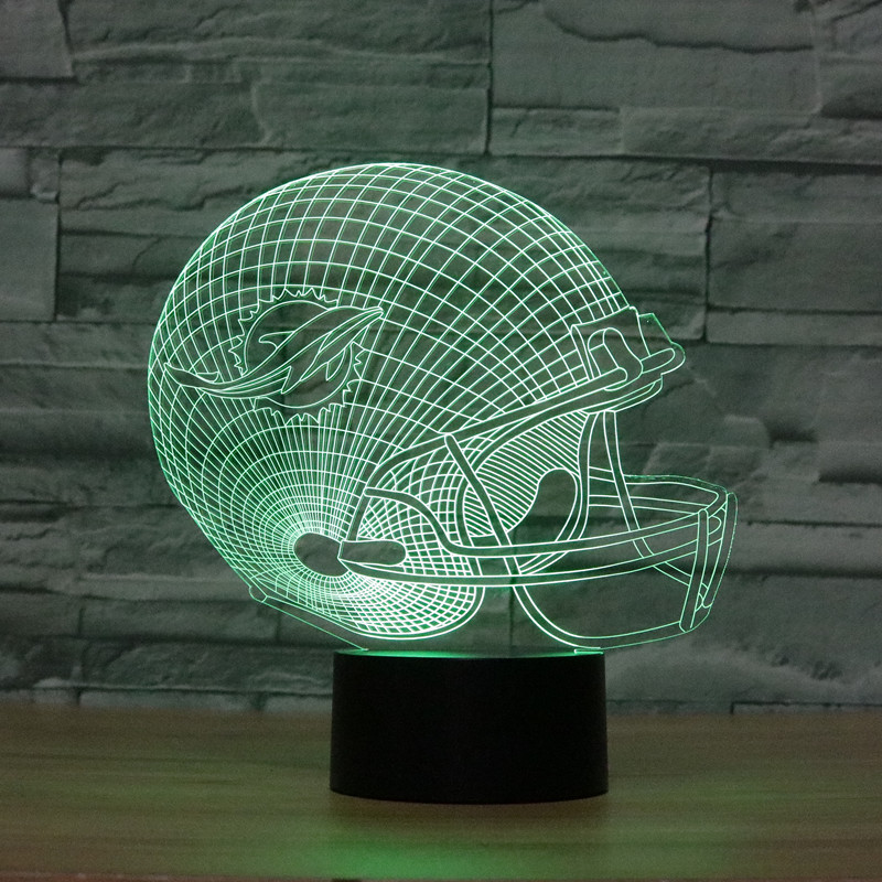 3D led Optical Illusion Lamp NFL Miami Dolphins football helmet Night lights Multicolored LED Creative font