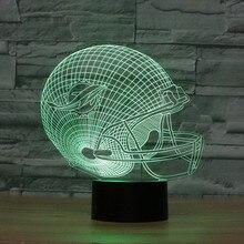 3D led Optical Illusion Lamp NFL Miami Dolphins football helmet Night lights Multicolored LED Creative Gadget Kida Kiddie Gift