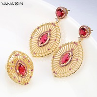 VANAXIN Crystal Jewelry Set Women Silver Gold Color Copper Female Earrings Trendy Girls Earrings&Ring Vintage Oval CC Red Garnet