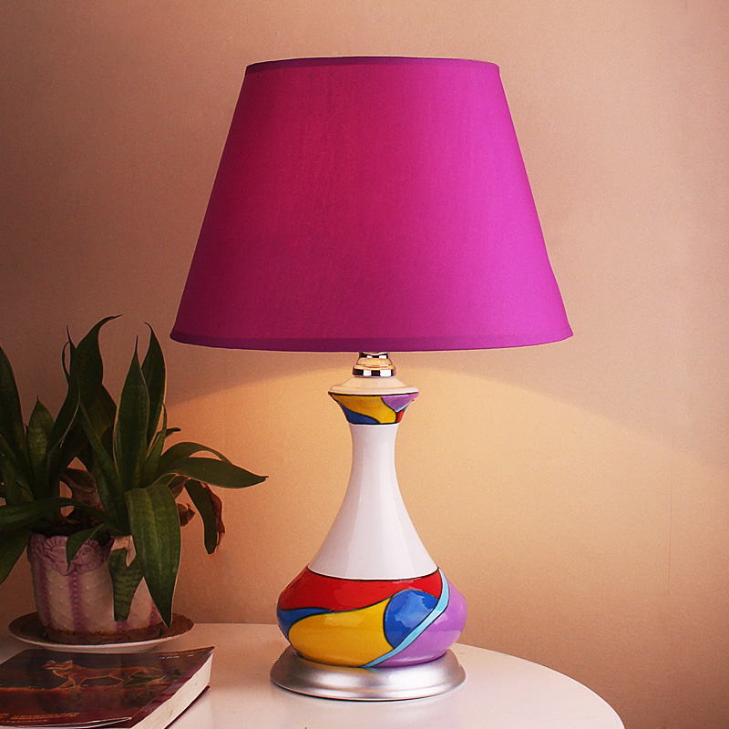 Post modern Art table lamps hand drawing pattern purple cloth lampshade kids room bedroom art home decoration desk reading lamp - 4