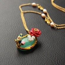 Эмаль Глазури Элегантные Птицы Цветок Gem Филиал Ожерелье Для Женщин Леди Платье Свитер Ожерелье