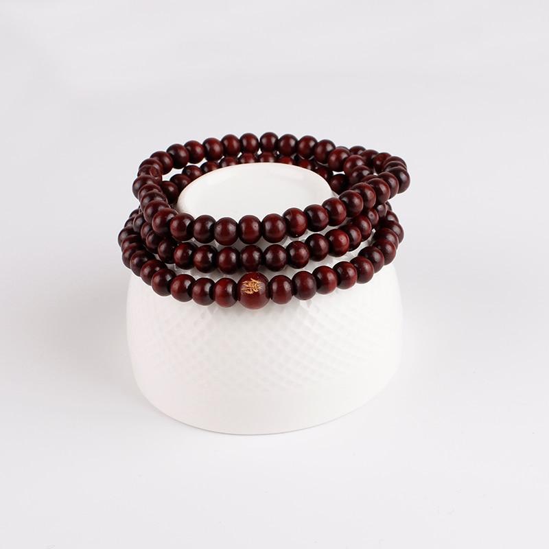 108 Beads 6mm Natural Sandalwood Buddhist Buddha Wood Prayer Bead Mala Unisex Men Bracelets Jewelry