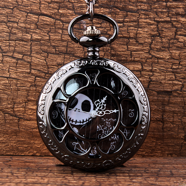 Cool Black Hollow Case The Nightmare Before Christmas Theme Fob Pocket Watch wit