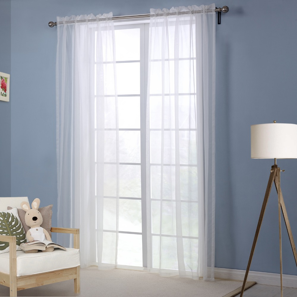 Window Curtain Living Room White Curtains for the Bedroom Solid ...