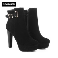 Euro High Heel Sexy Womens Ankle Boots Fashion Buckle Comfort Platform Zip Lady Footwear Fuax Suede