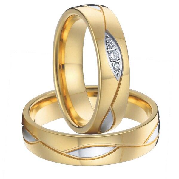 1 paire haut de gamme luxe fait à la main personnalisé couleur or santé chirurgicale en acier titane mode weddin anneaux ensembles