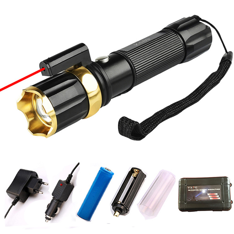 Powerful UV Red Laster+T6 LED 3 Modes Hunting Flashlight 4000 Lumen Zoom Tactical Flash Light Torch for 18650 / AAA BatteryPowerful UV Red Laster+T6 LED 3 Modes Hunting Flashlight 4000 Lumen Zoom Tactical Flash Light Torch for 18650 / AAA Battery