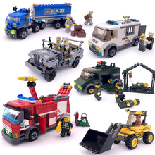 JJRC City Forklift Car Fire Truck Ambulance Construction Educational Building Blocks Toys Compatible With Legoe gift for boy new 959pcs city explorers cargo train forklift truck crane remote control compatible lepins building blocks bricks toys for gift